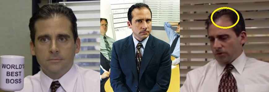 Steve Carell hair the office before and after