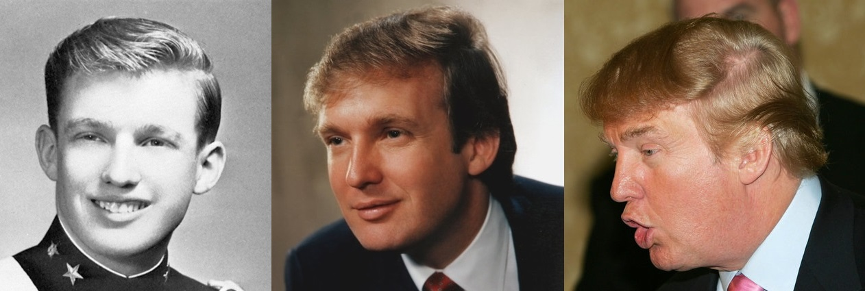 Donald Trump's hair in 1964, 1983, and 2004